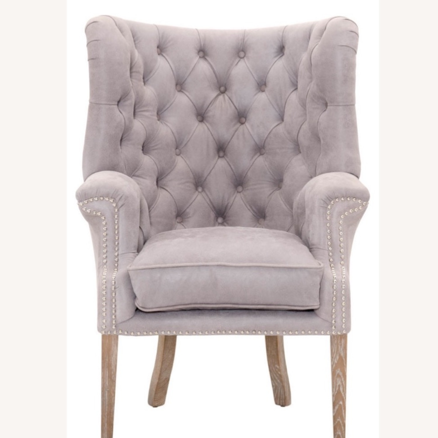 Grey/slight Lavender Leather Wingback Chair - image-4
