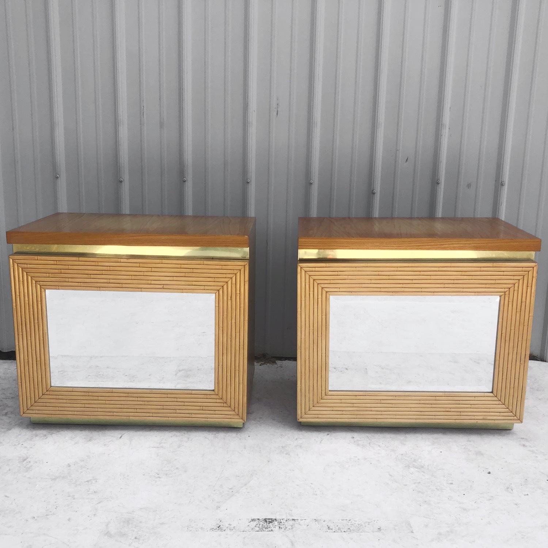 Pair Vintage Modern Bamboo Nightstands - image-1