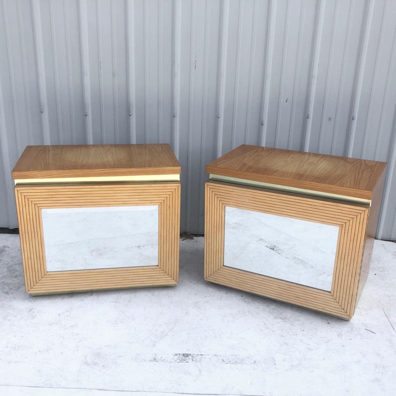 Pair Vintage Modern Bamboo Nightstands - image-0