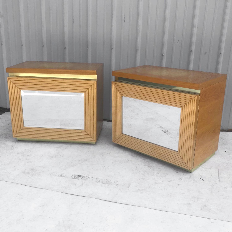 Pair Vintage Modern Bamboo Nightstands - image-2