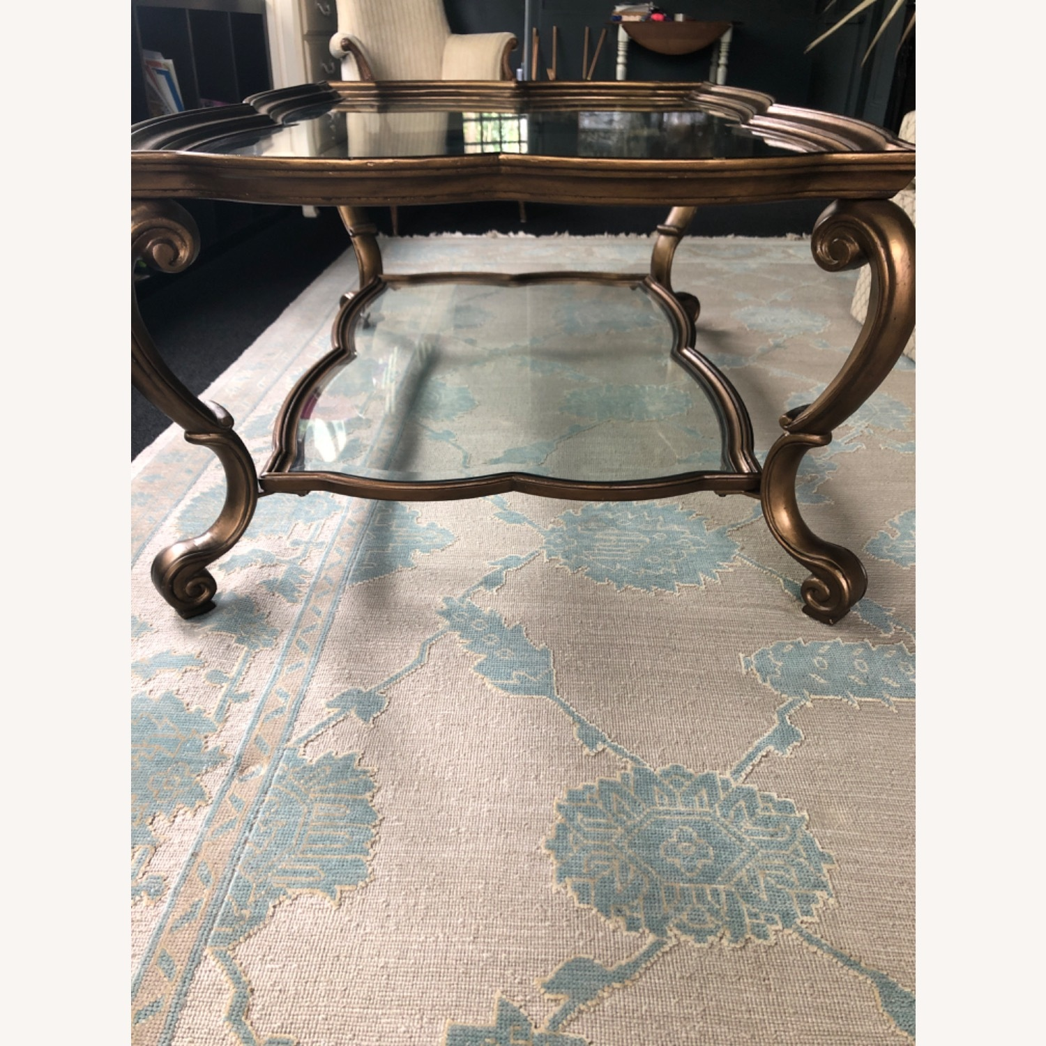 Antique Glass and Bronze Coffee Table - image-3