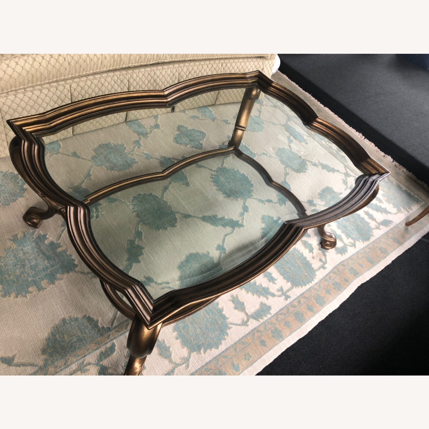 Antique Glass and Bronze Coffee Table - image-2