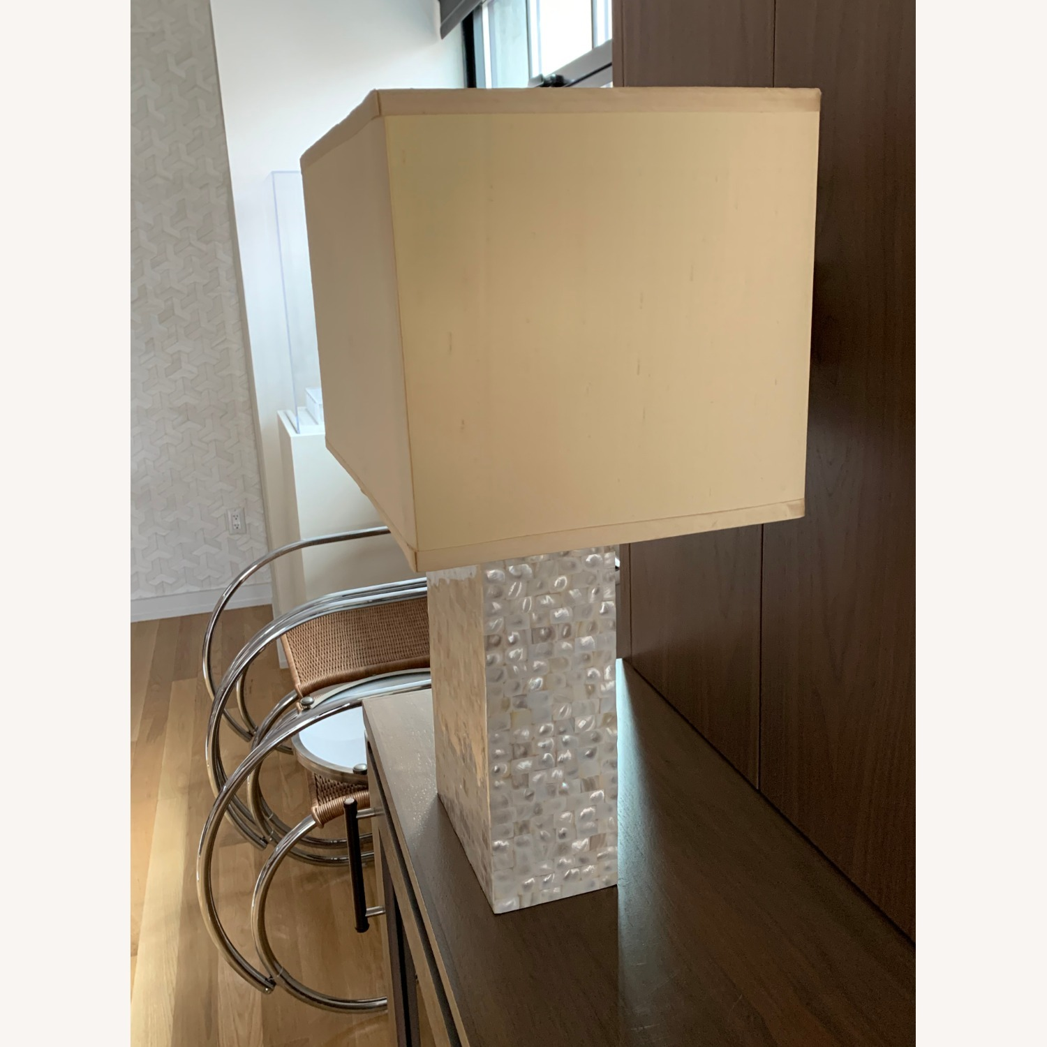 White/gold Rectangular Table Lamp - image-1