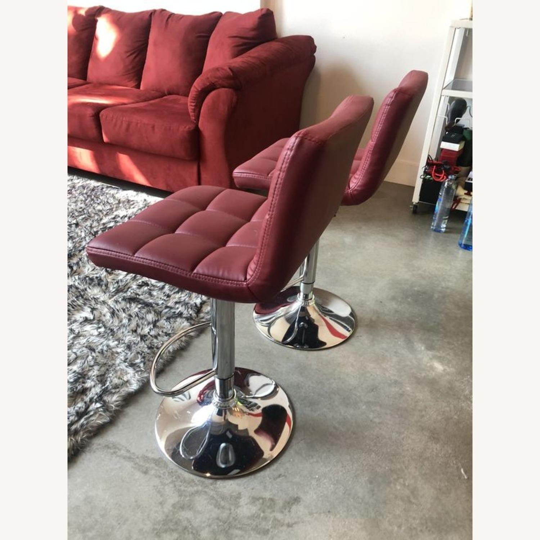 Bar Stools Leather Adjustable Swivel Pub Chairs - image-3