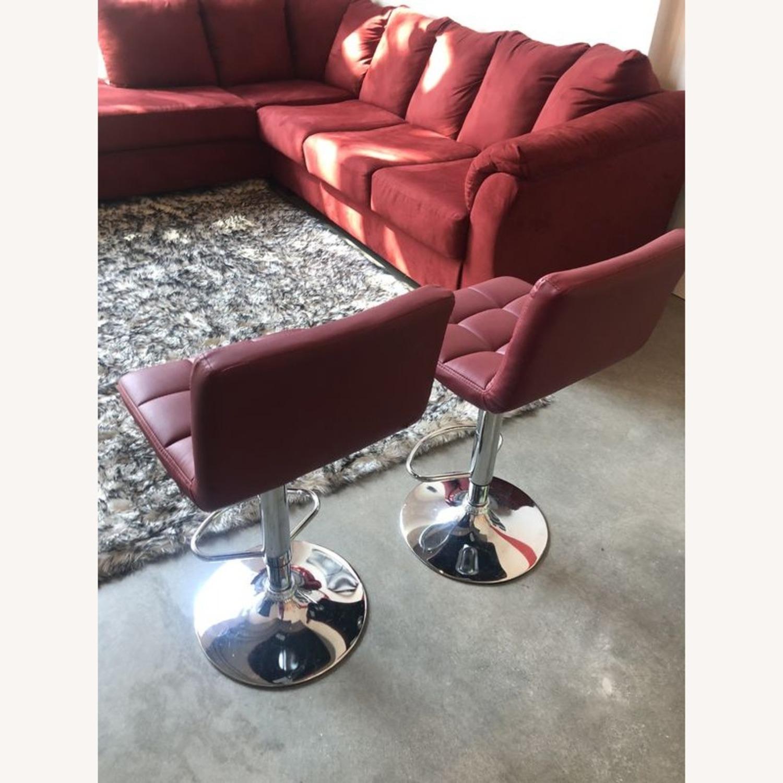 Bar Stools Leather Adjustable Swivel Pub Chairs - image-1