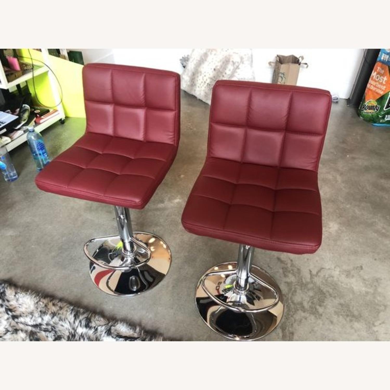 Bar Stools Leather Adjustable Swivel Pub Chairs - image-2