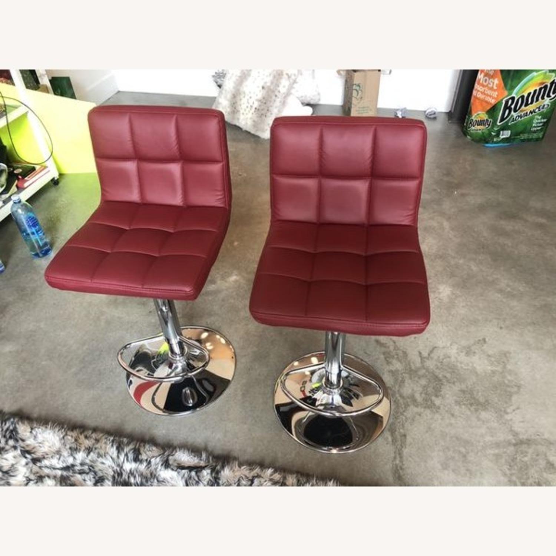 Bar Stools Leather Adjustable Swivel Pub Chairs - image-4