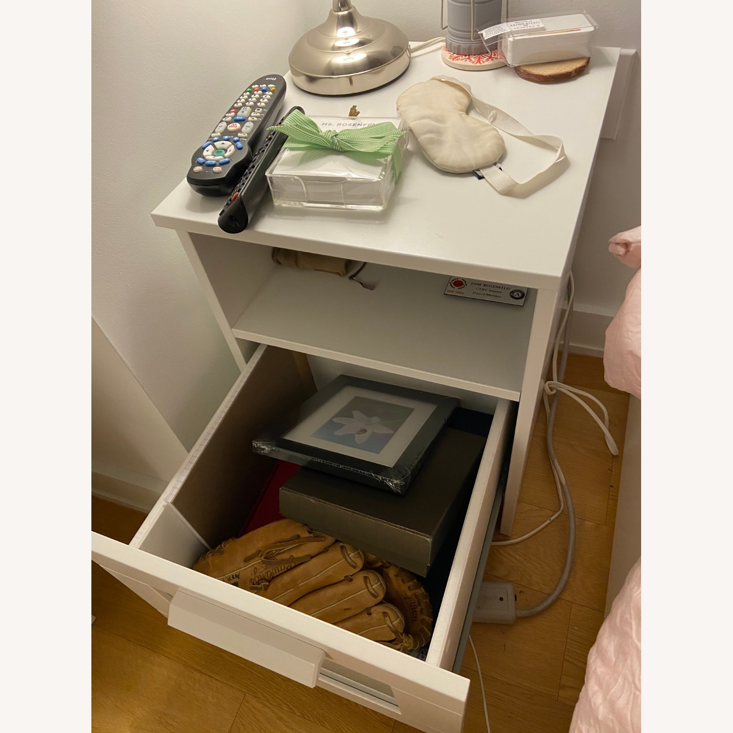 White Nightstand with Storage Space - image-3