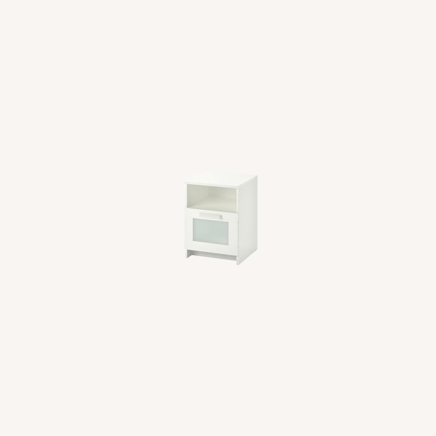 White Nightstand with Storage Space - image-0