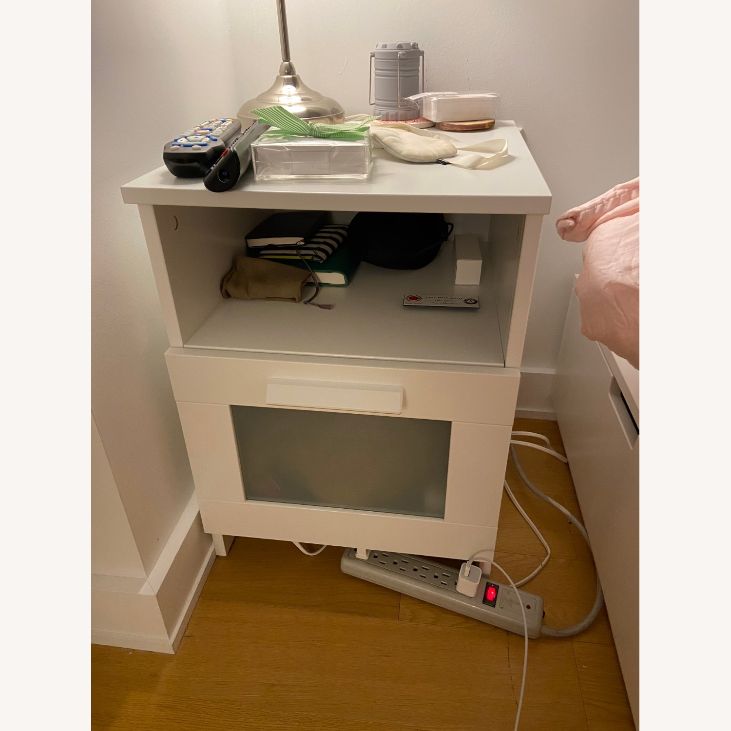 White Nightstand with Storage Space - image-1