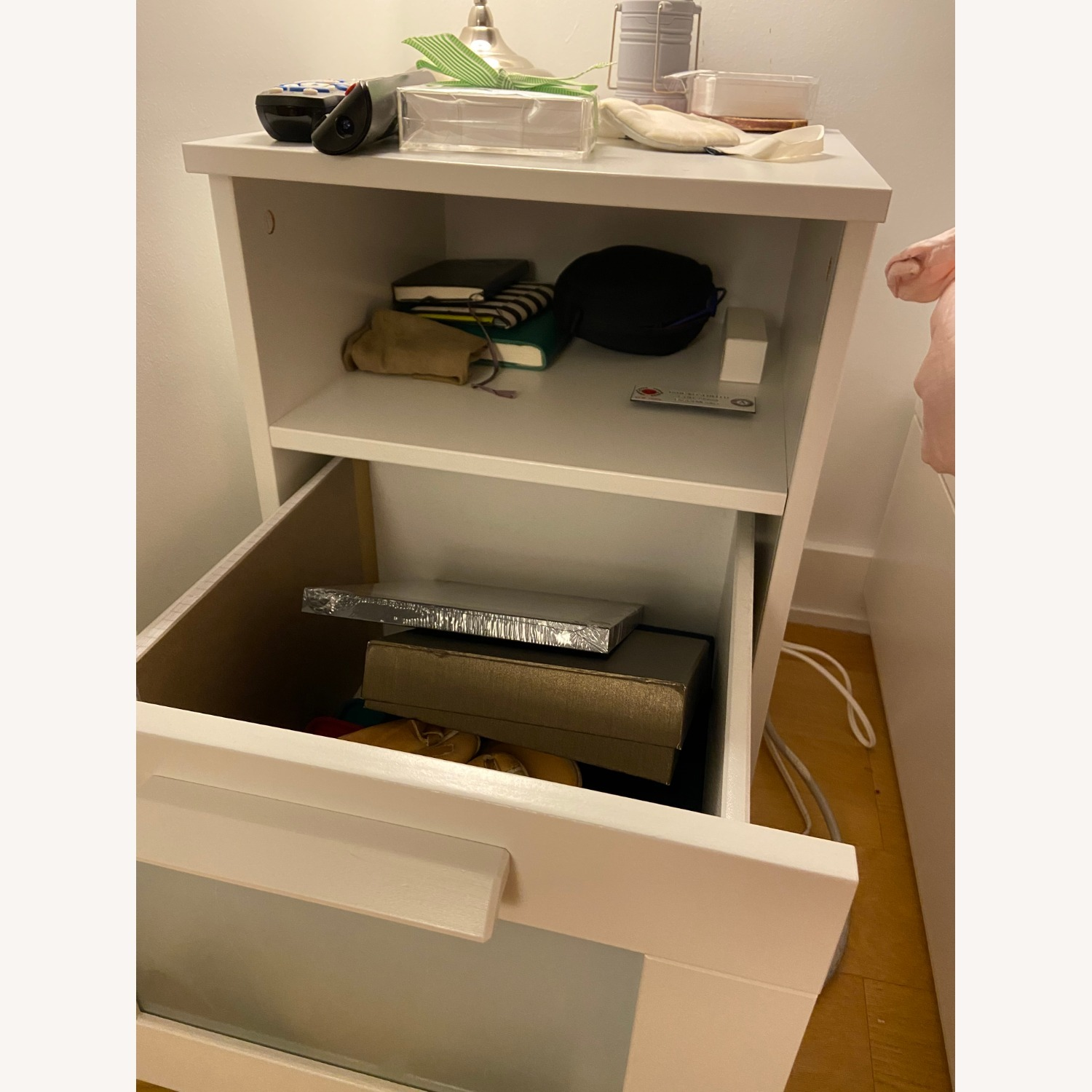 White Nightstand with Storage Space - image-2