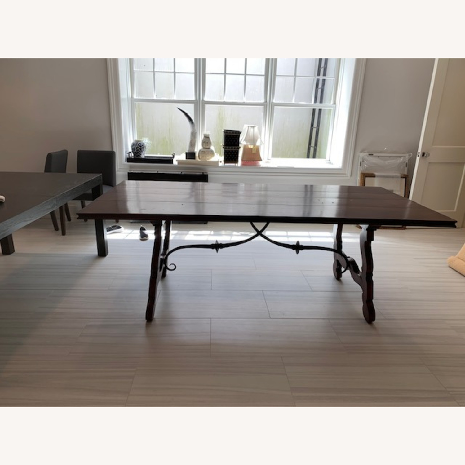 Spanish Style Farm Trestle Table with Forged Steel - image-2