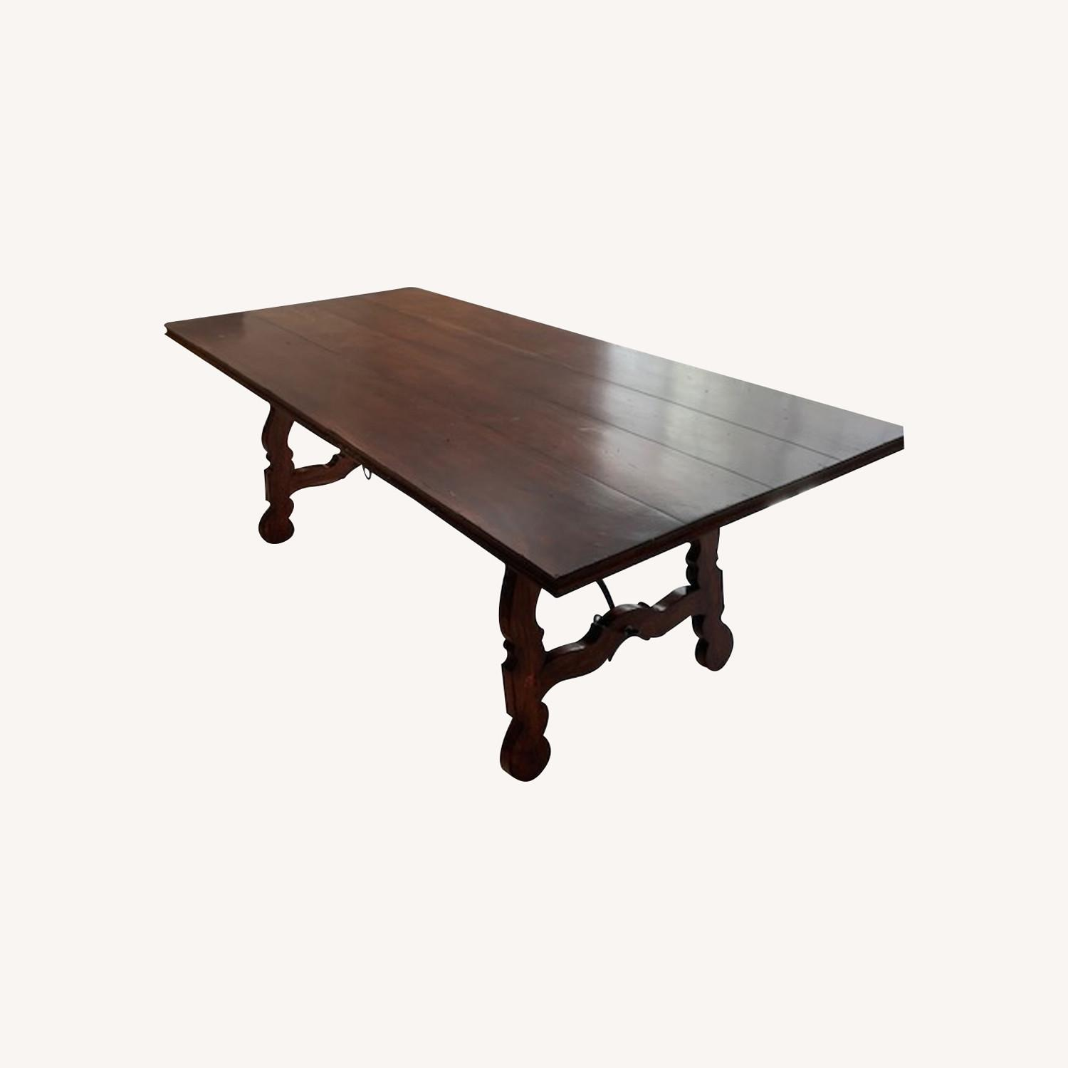 Spanish Style Farm Trestle Table with Forged Steel - image-0