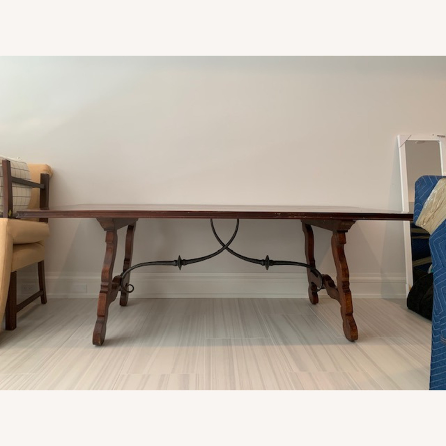 Spanish Style Farm Trestle Table with Forged Steel - image-1