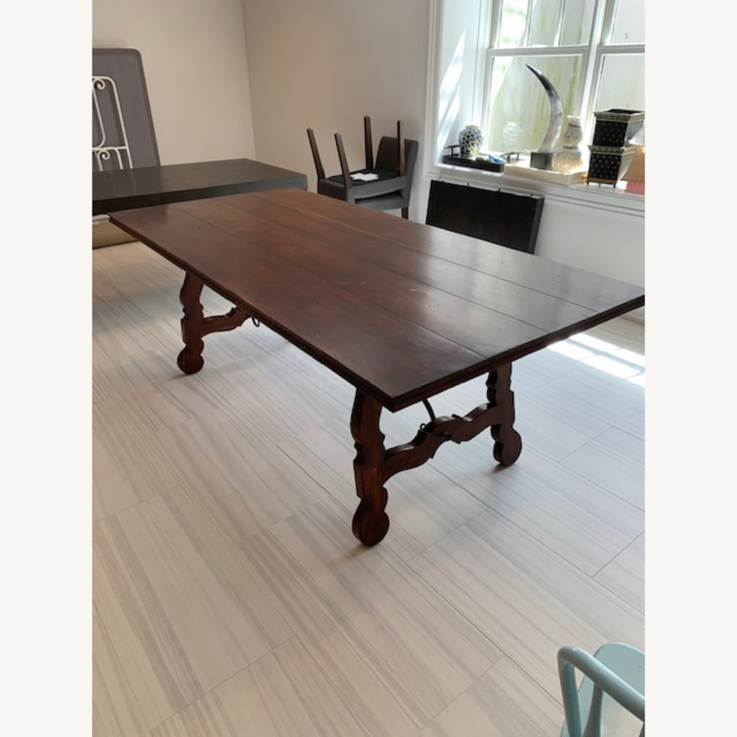 Spanish Style Farm Trestle Table with Forged Steel - image-5