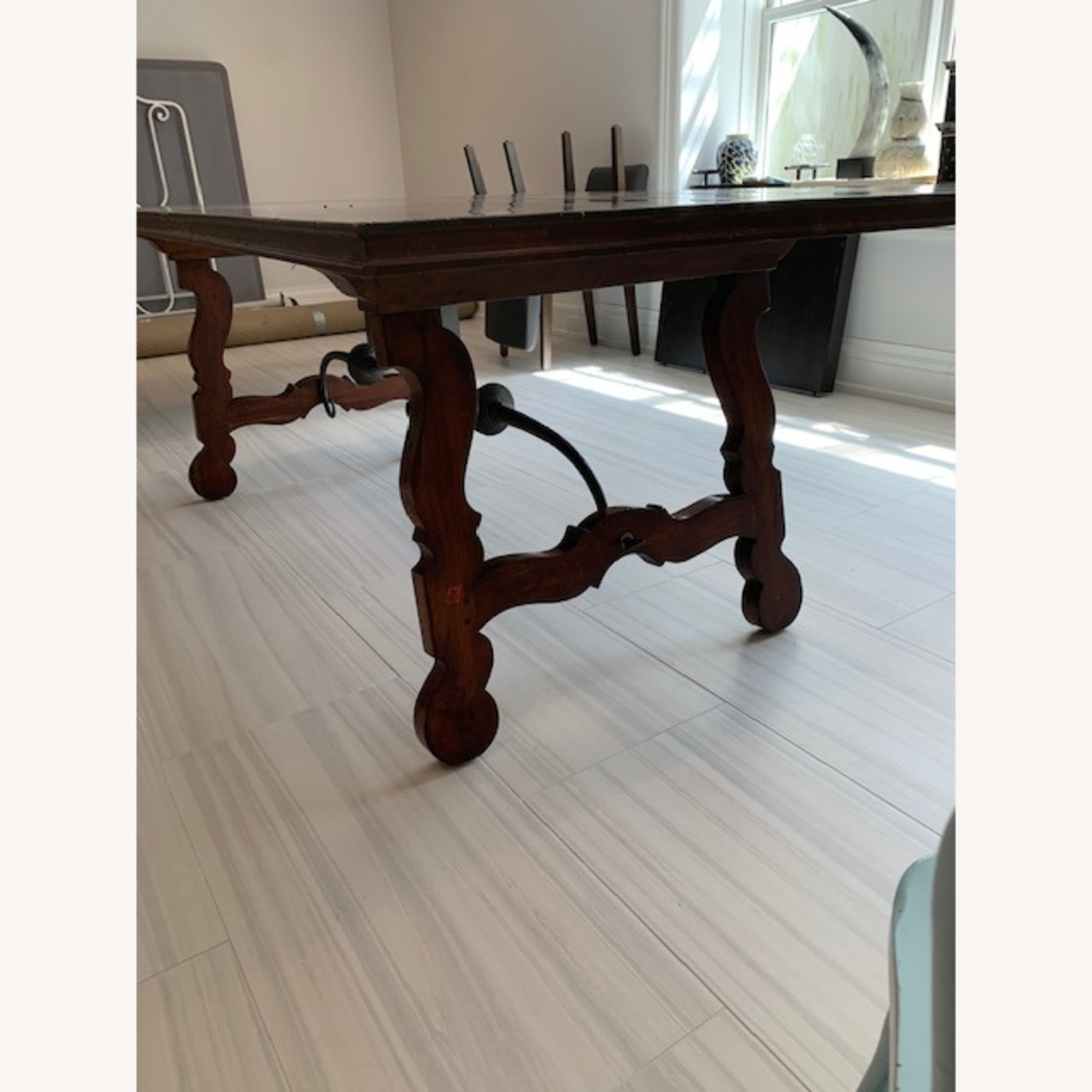 Spanish Style Farm Trestle Table with Forged Steel - image-3