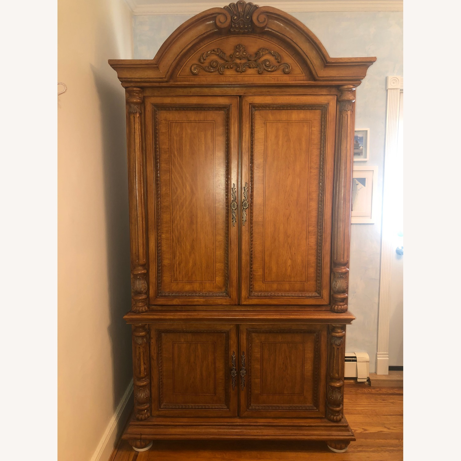 Wooden Walnut Armoire/TV cabinet - image-1