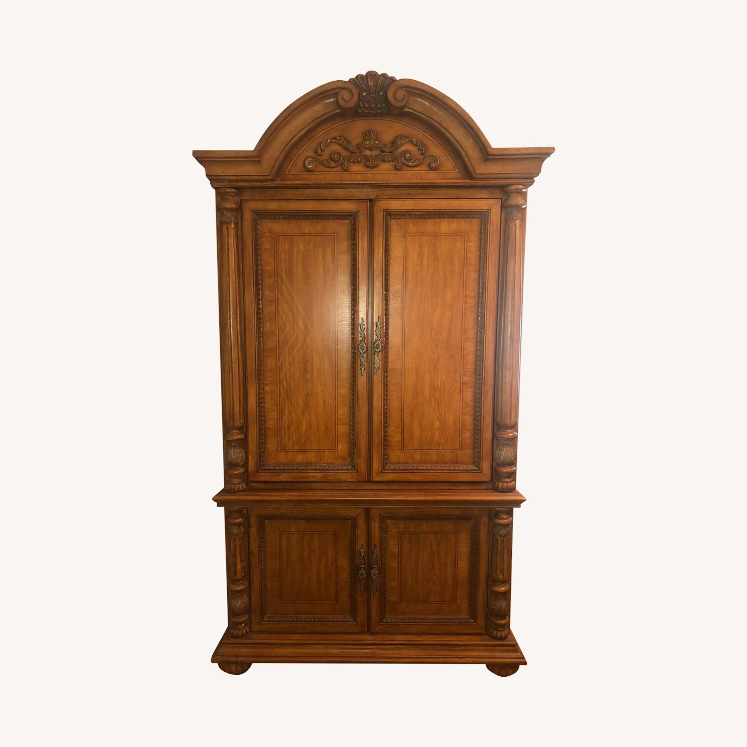 Wooden Walnut Armoire/TV cabinet - image-0