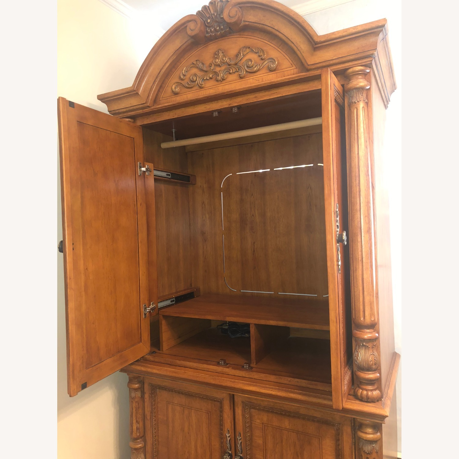Wooden Walnut Armoire/TV cabinet - image-5