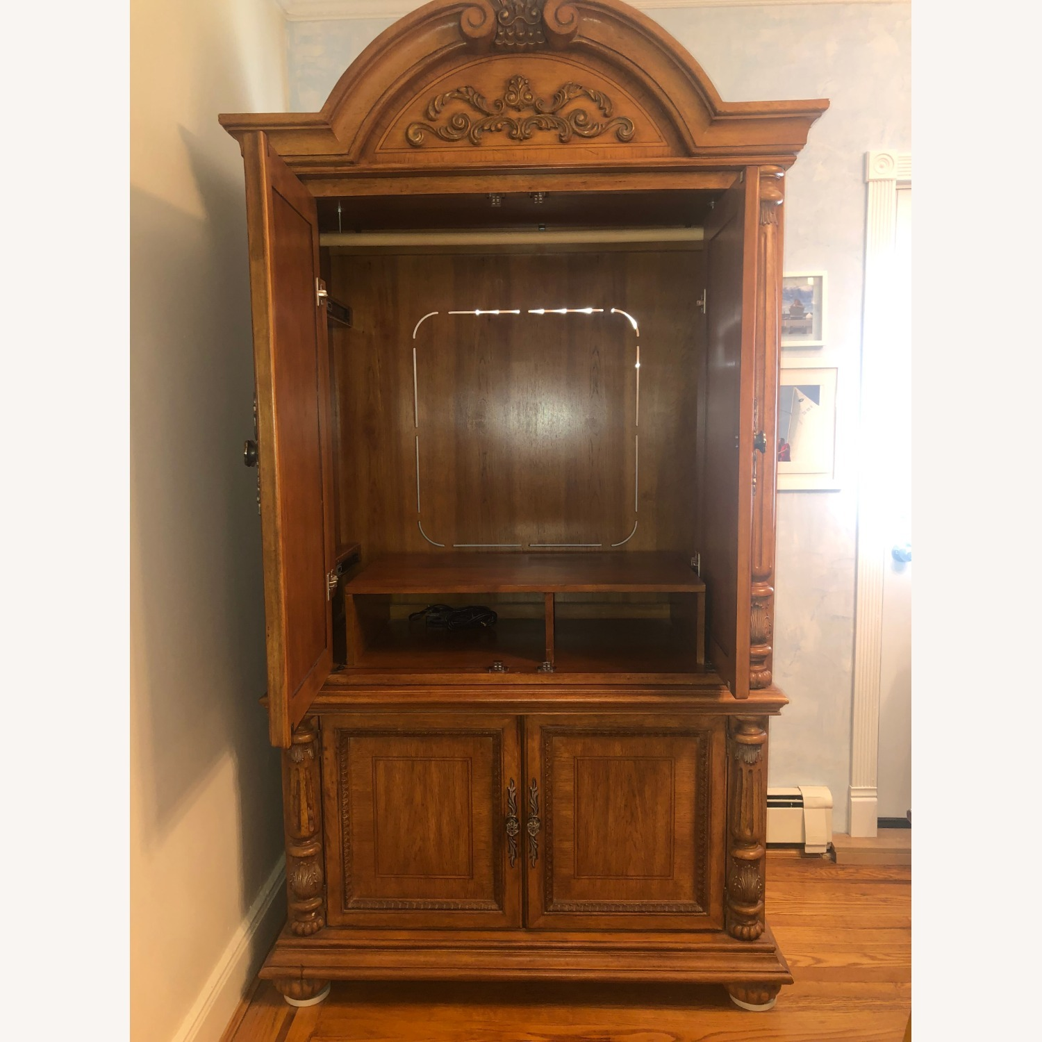 Wooden Walnut Armoire/TV cabinet - image-4