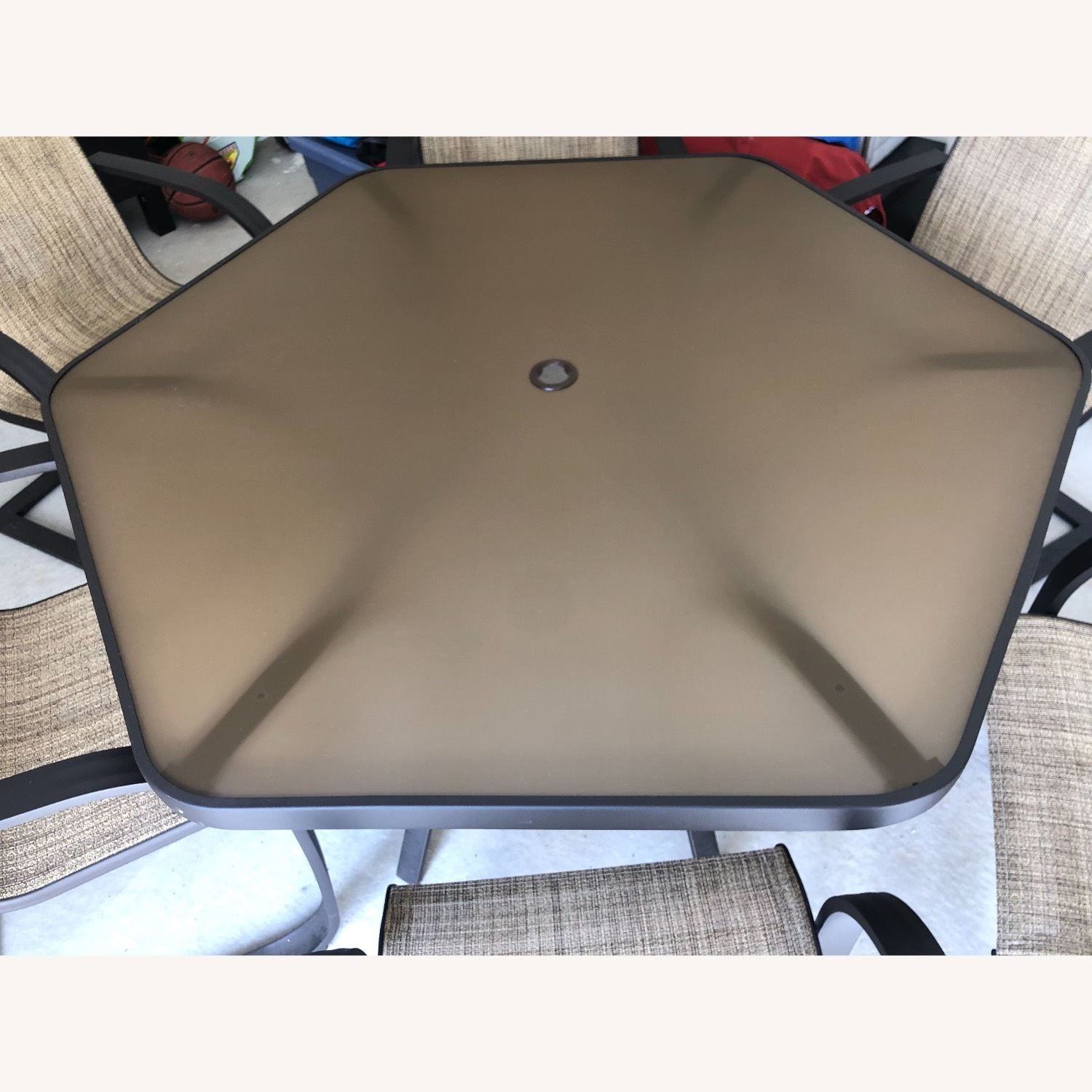 Outdoor Patio Set - 6 Chairs and Umbrella w/Base - image-2