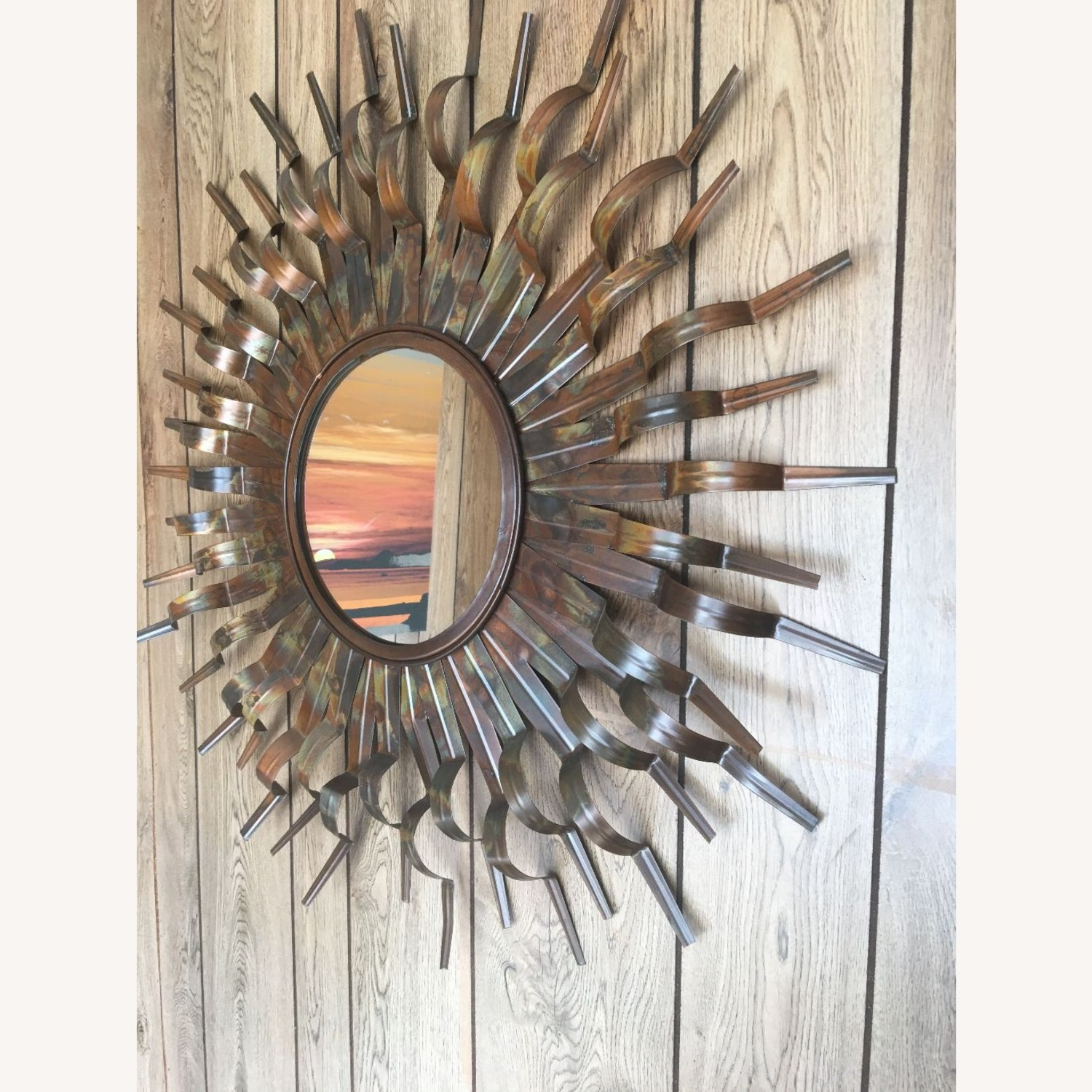 Mirror with Round Metal /Copper Frame - image-1