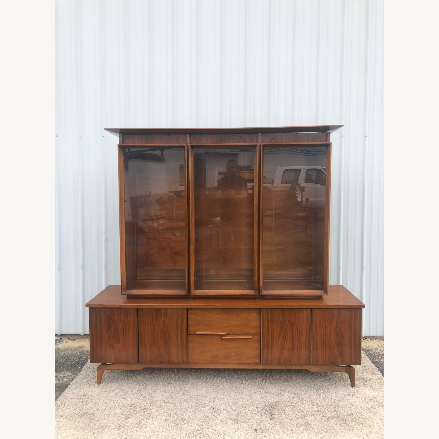 Mid Century China Cabinet with Glass Shelves - image-6