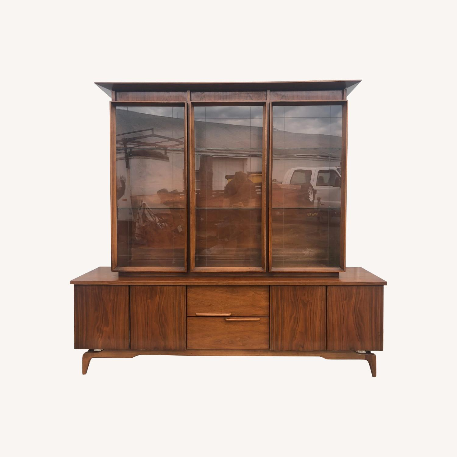 Mid Century China Cabinet with Glass Shelves - image-0