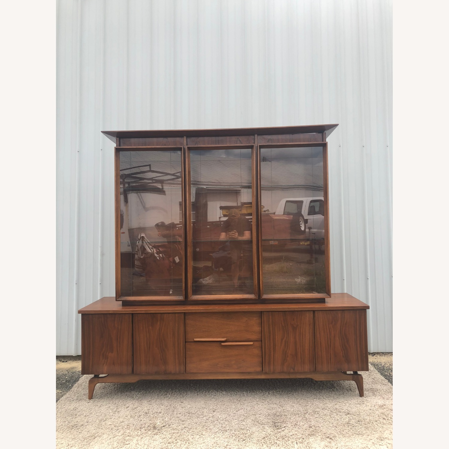 Mid Century China Cabinet with Glass Shelves - image-22