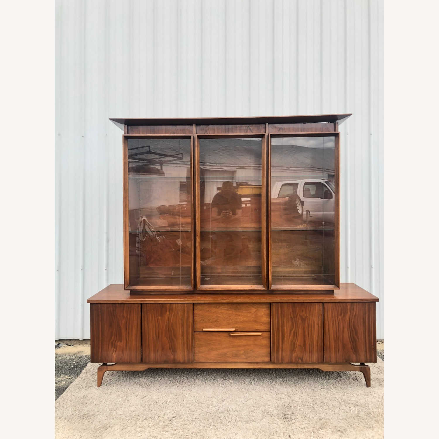 Mid Century China Cabinet with Glass Shelves - image-10