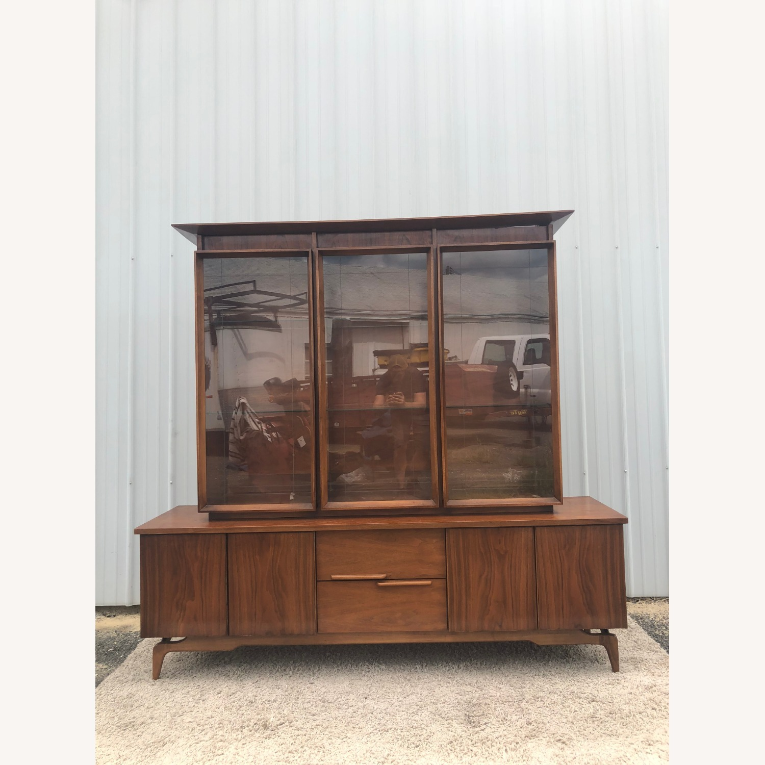 Mid Century China Cabinet with Glass Shelves - image-23