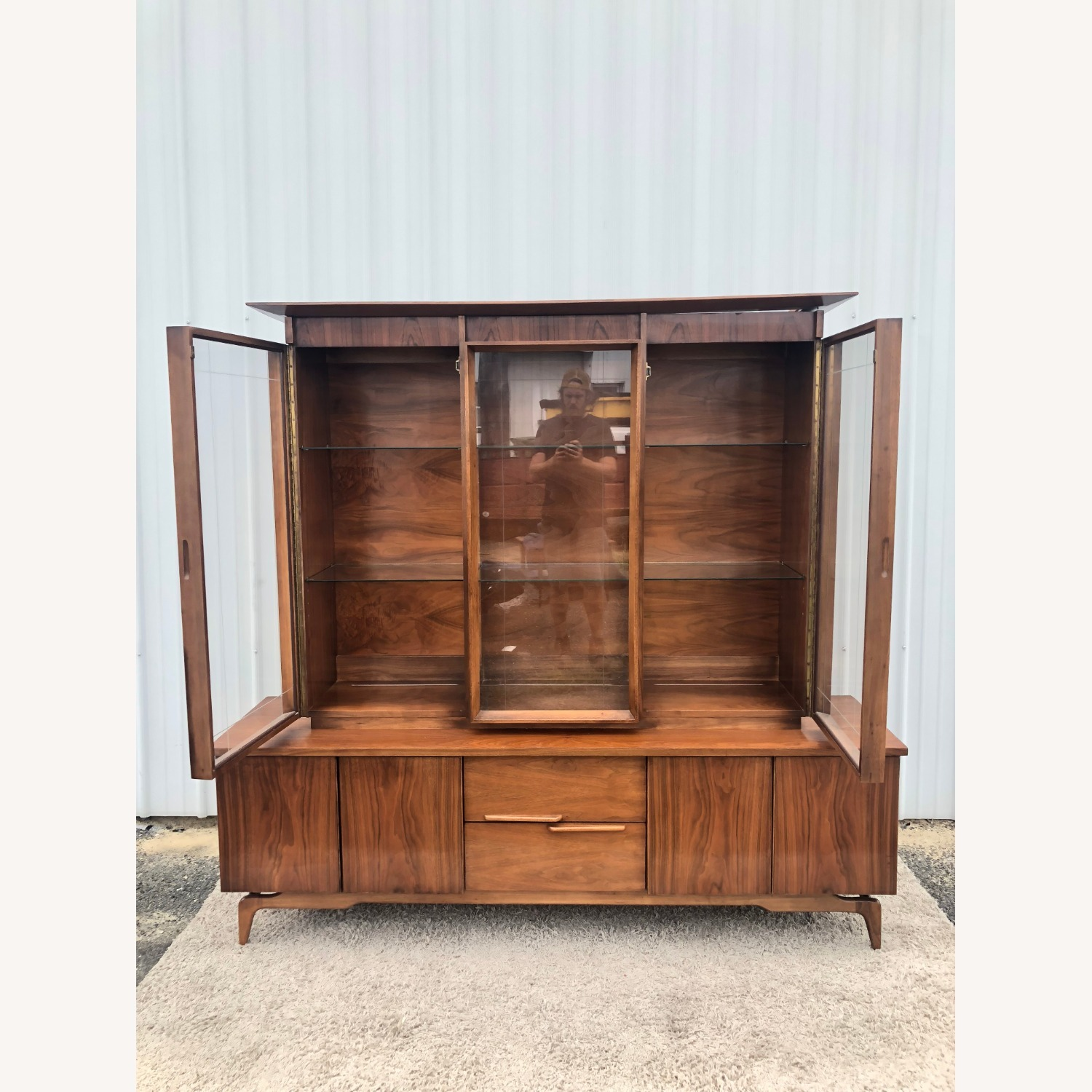 Mid Century China Cabinet with Glass Shelves - image-20