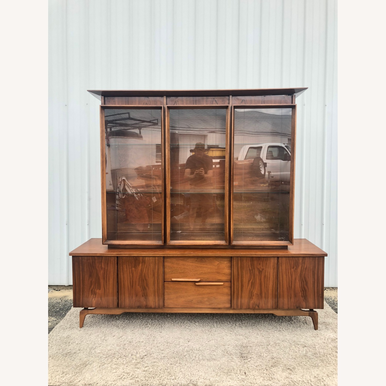 Mid Century China Cabinet with Glass Shelves - image-12