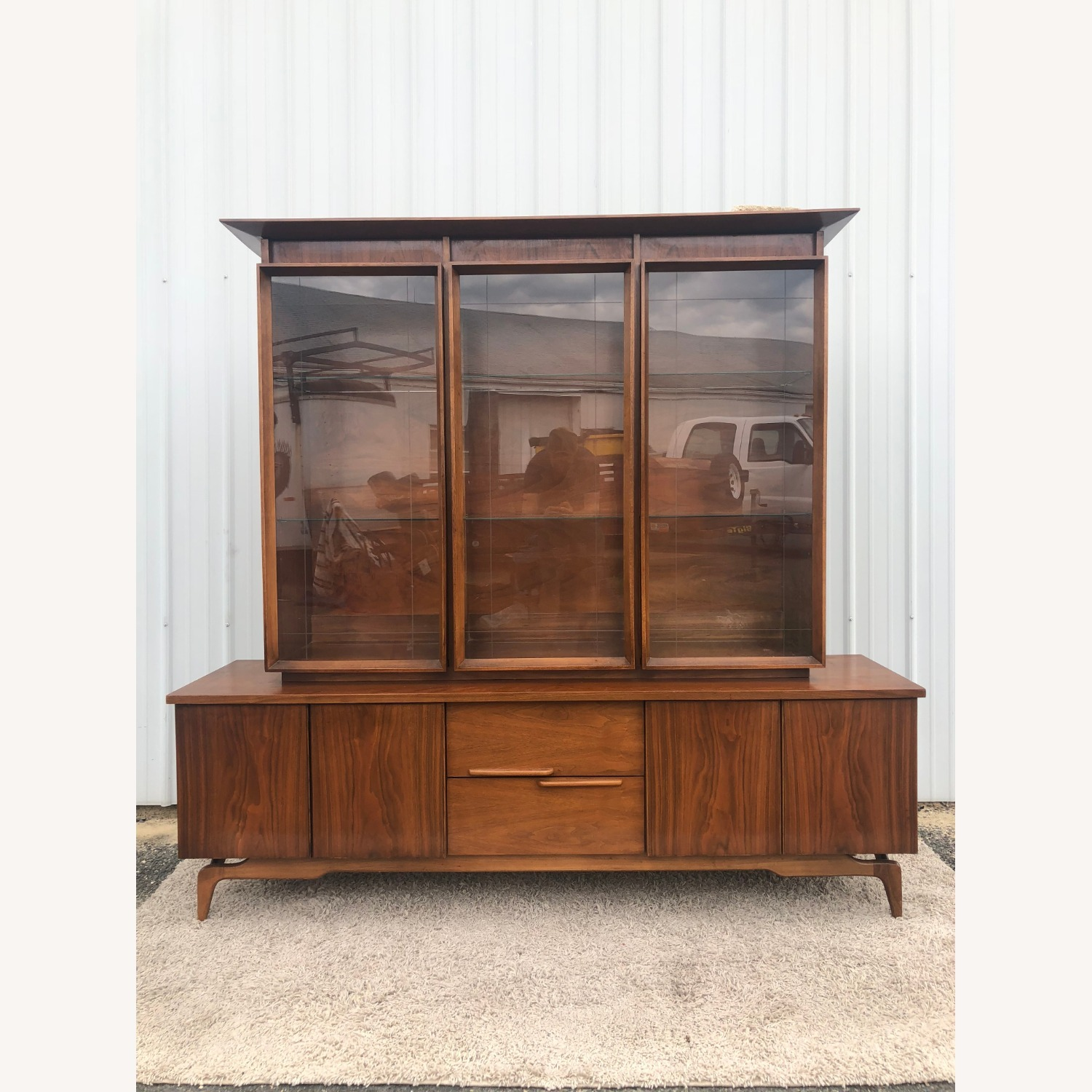 Mid Century China Cabinet with Glass Shelves - image-8