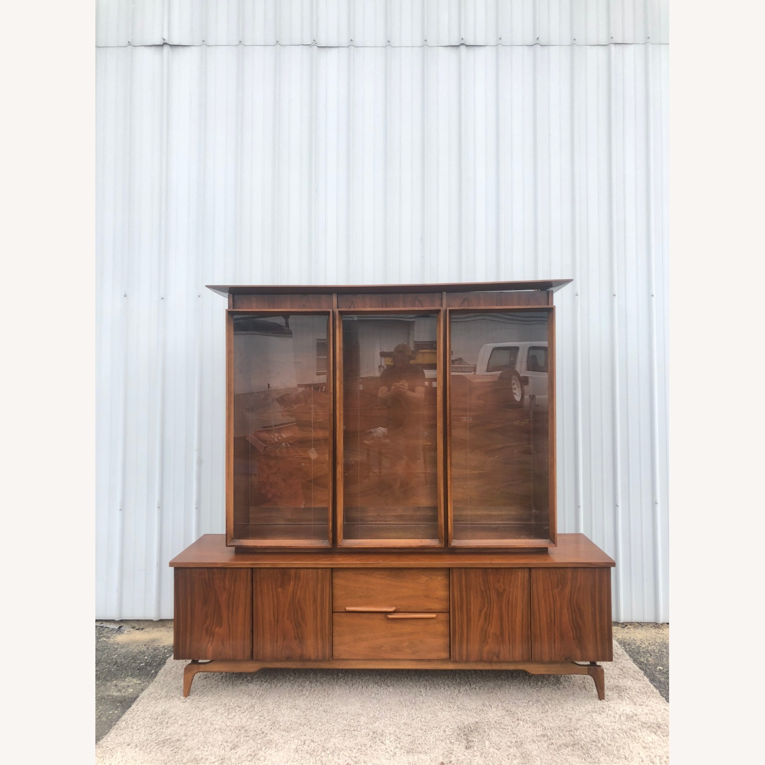Mid Century China Cabinet with Glass Shelves - image-7