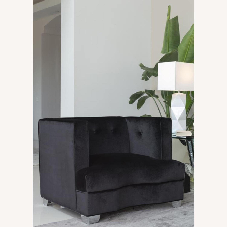 Chair In Black Soft Velvet Upholstery - image-1