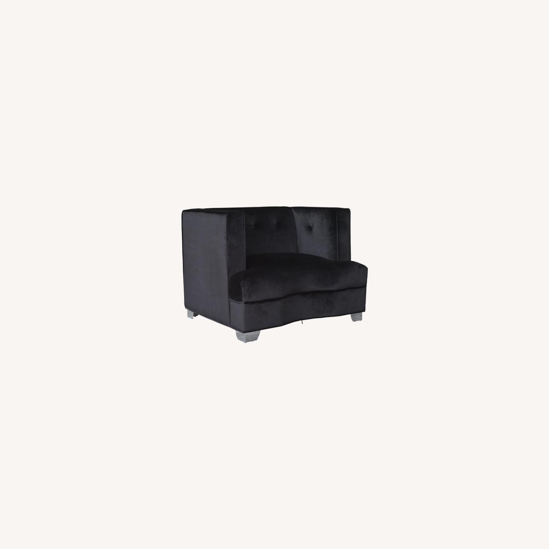 Chair In Black Soft Velvet Upholstery - image-4