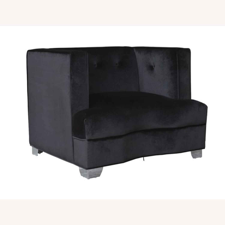 Chair In Black Soft Velvet Upholstery - image-0