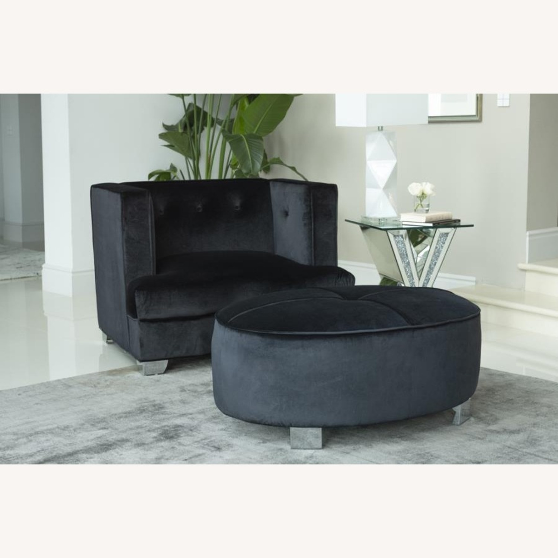 Chair In Black Soft Velvet Upholstery - image-2