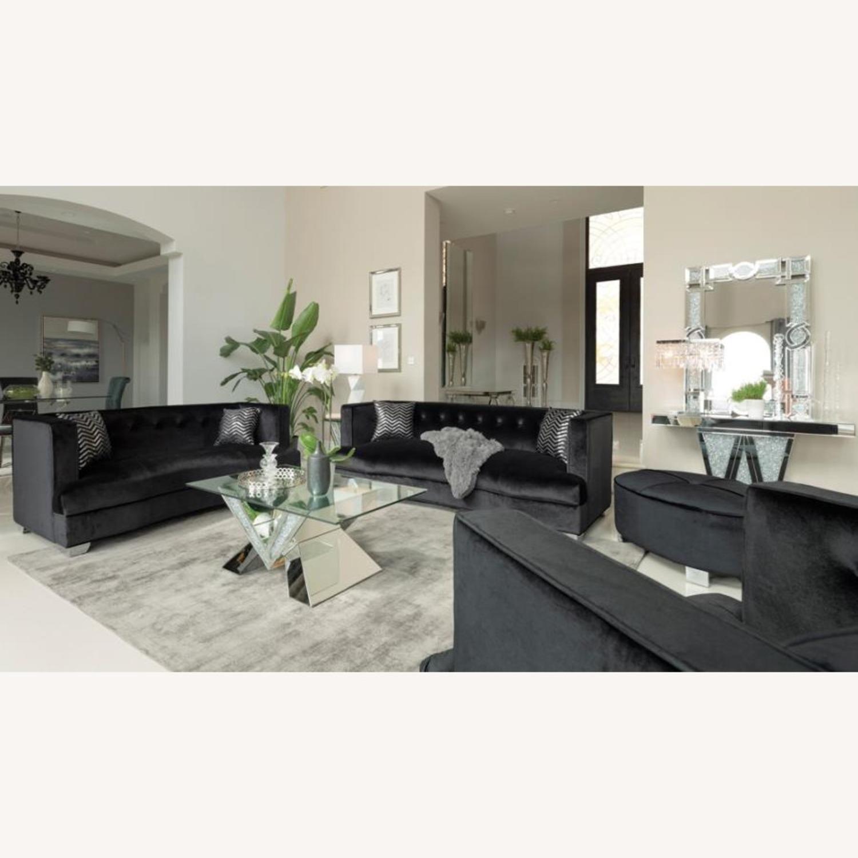 Chair In Black Soft Velvet Upholstery - image-3