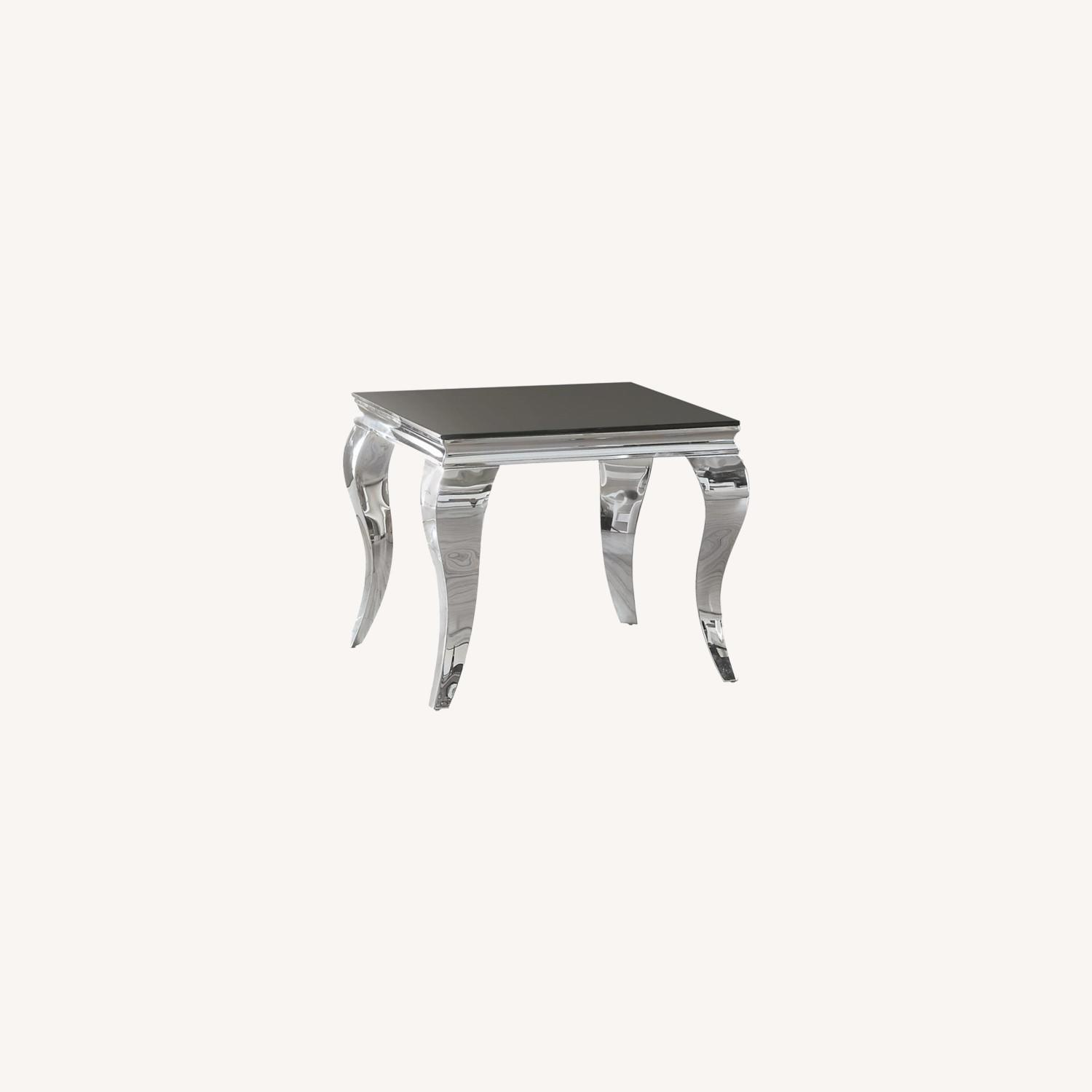 Elegant End Table In Chrome Accent Finish - image-3