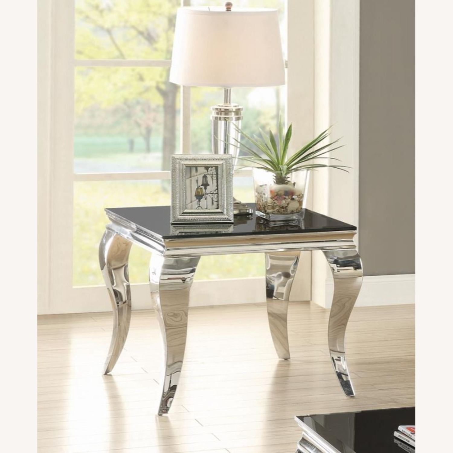 Elegant End Table In Chrome Accent Finish - image-1