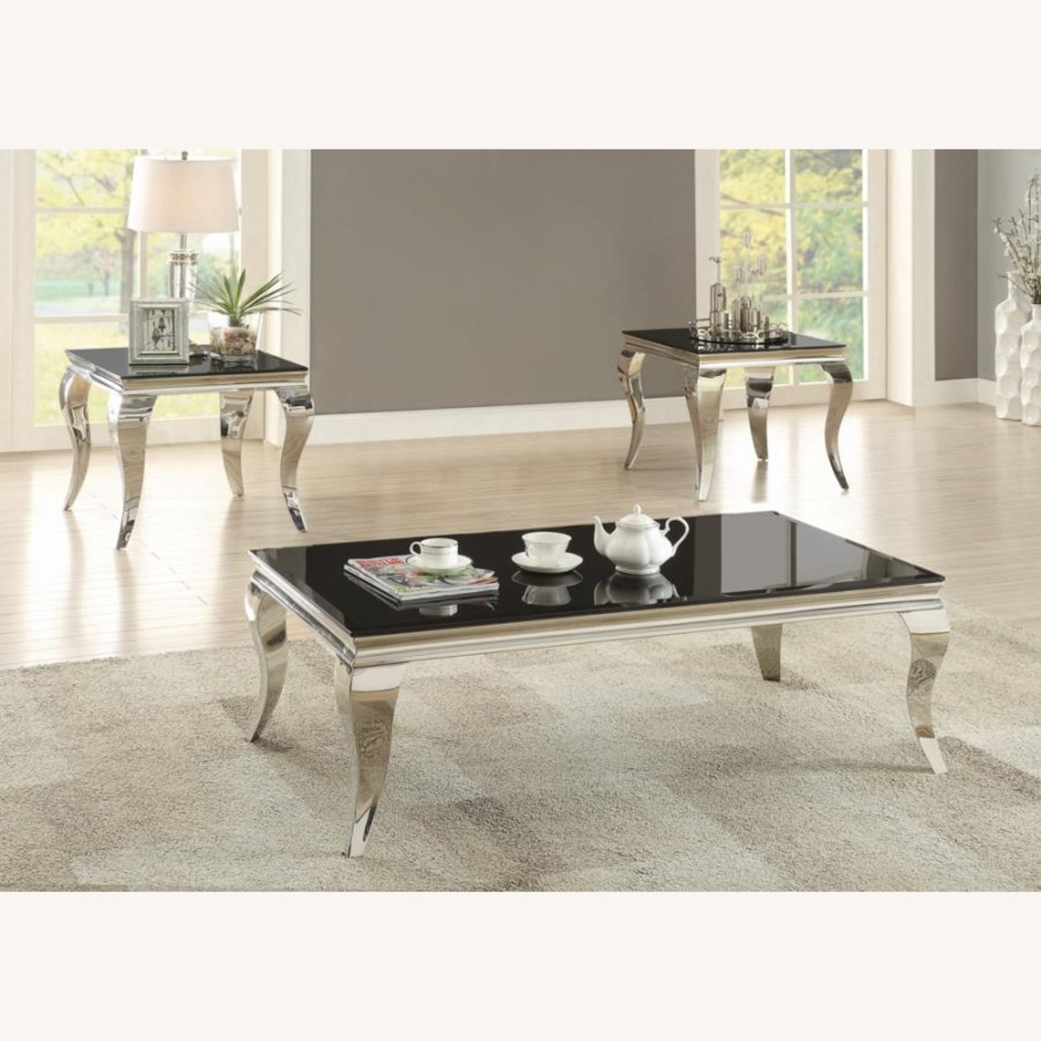 Elegant End Table In Chrome Accent Finish - image-2
