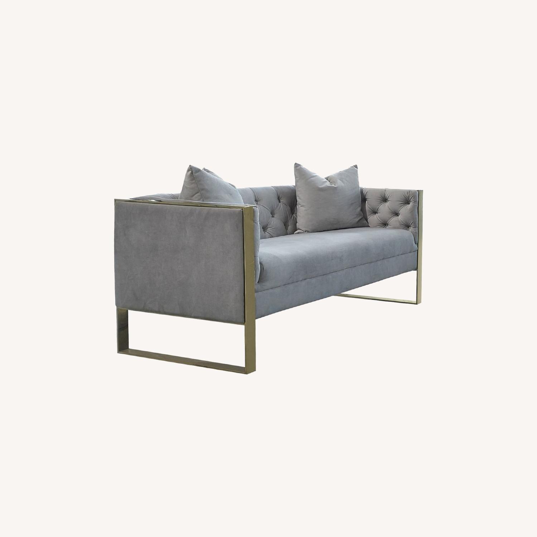 Loveseat In Grey Velvet W Button Tufted Shelter - image-3