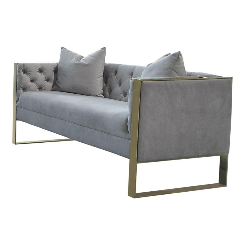 Loveseat In Grey Velvet W Button Tufted Shelter - image-1