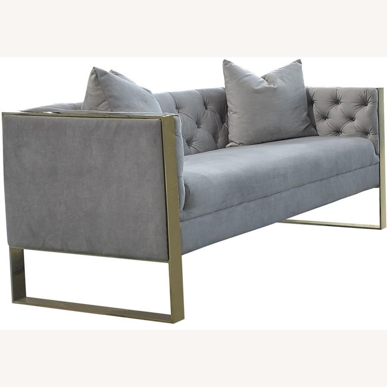 Loveseat In Grey Velvet W Button Tufted Shelter - image-0