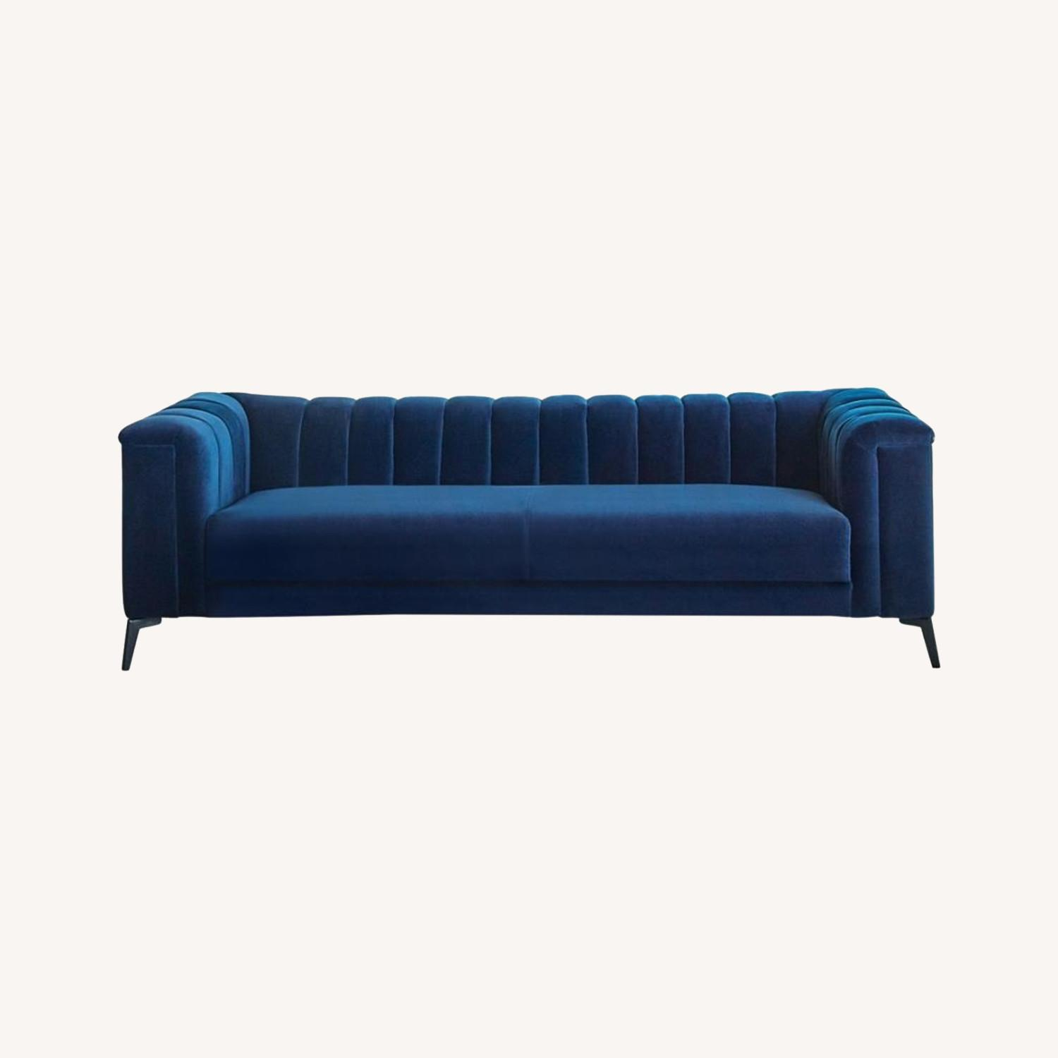 Sofa In Blue Matte Velvet W/ Black Metal Legs - image-3