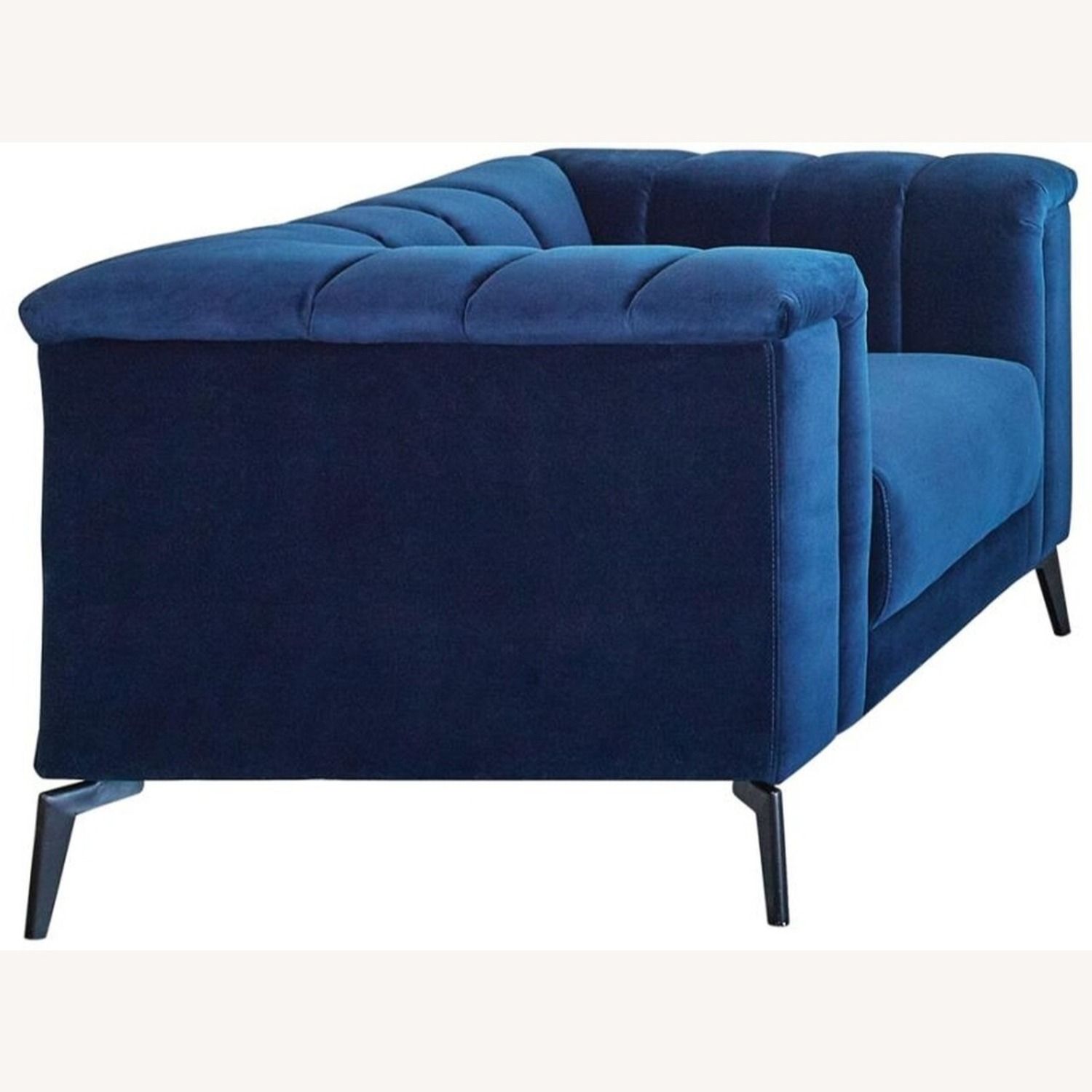 Sofa In Blue Matte Velvet W/ Black Metal Legs - image-1