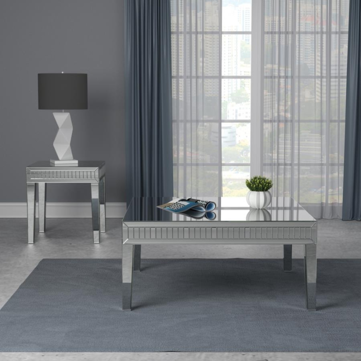 Ultra-Glam Side Table In Silver Finish - image-3