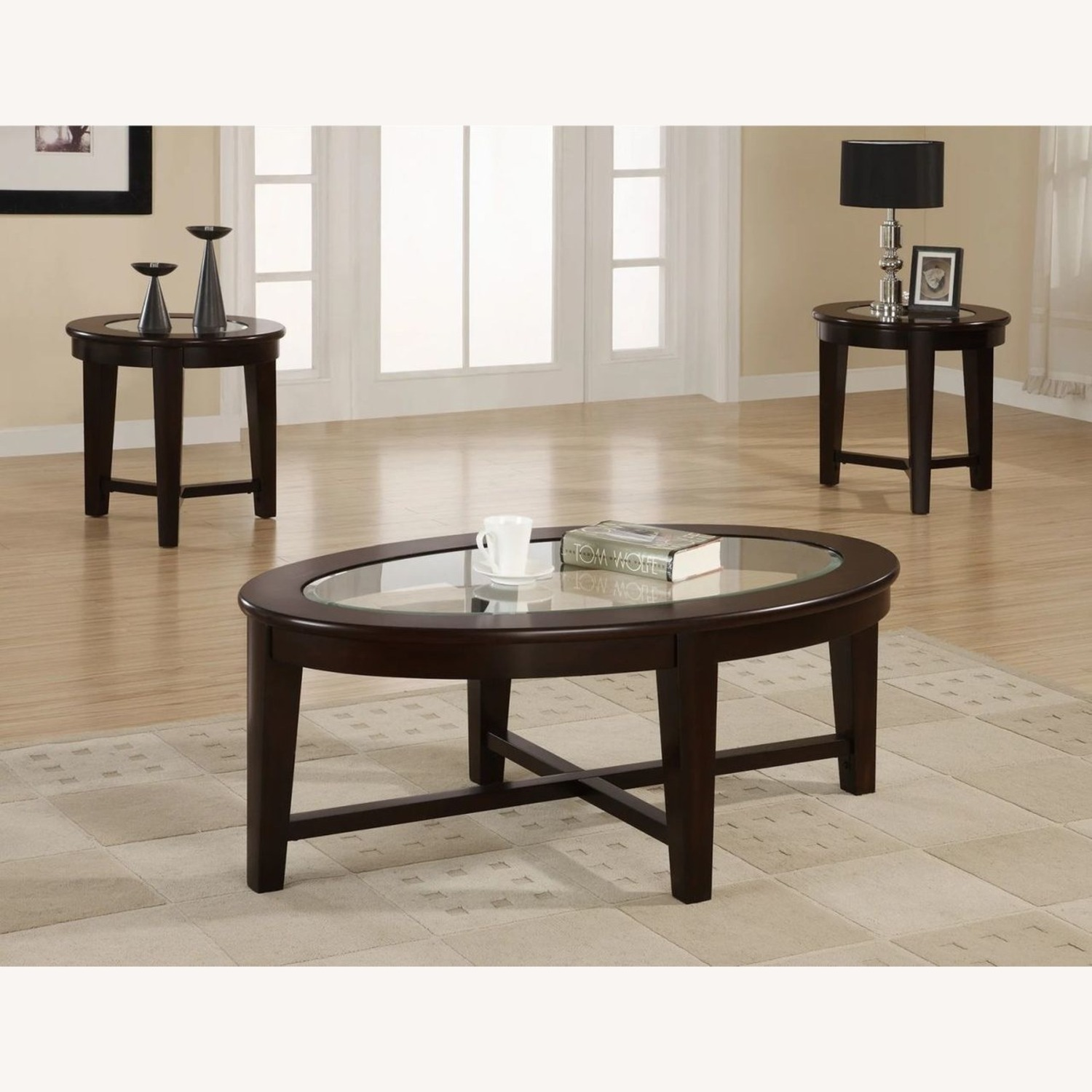 3-Piece Occasional Set In Cappuccino Finish - image-3